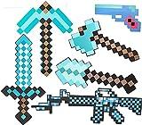 QHYX-bee Minecraft - Espada de Juguete para niños, Espada de Diamante, Hacha de píxel, Pala de píxel, Pistola de píxel, metralleta, Pico, Escudo, Espada de Juguete para niños (8 Combinaciones)