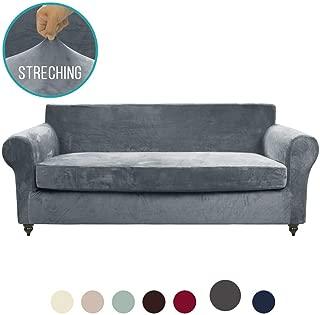 MOYMO 2-Piece Stretch Velvet Couch Cover, High Stretch Couch Slipcovers for 3 Cushion Couch, Couch Covers for Sofa, Living Room, Dogs, Sofa/Couch Slipcover(Sofa:Grey)