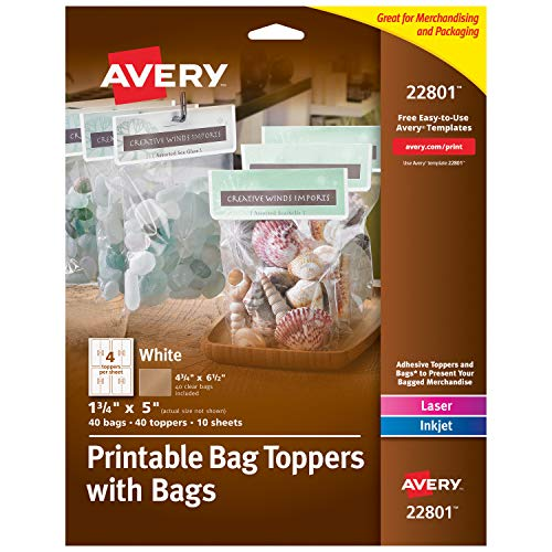 """Avery Printable Bag Toppers for Laser & Inkjet Printers, Bags Included, 1.75"""" x 5"""", Pack of 40 (22801), White"""