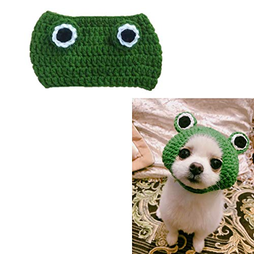 KRISMYA Pet Costume Hat/Cosplay Cap,Cat Dog Hats Handmade Knitted Woolen Yarn Cute Cartoon Frog Hat for Pet Kitten Puppy Birthday Christmas and Halloween