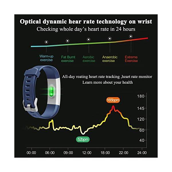 ITSHINY Pulsera Actividad Hombre Mujer, Pulsera Actividad Inteligente Reloj Pulsómetro Impermeable IP68 Podómetro… 4
