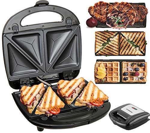 3in1 Sandwichmaker | 850 Watt | 3 Austauschbare Platten | Waffeleisen | Kontaktgrill | Sandwich Maker | Sandwichtoaster | Paninitoaster | Elektrogrill | Antihaftbeschichtung | Thermostat