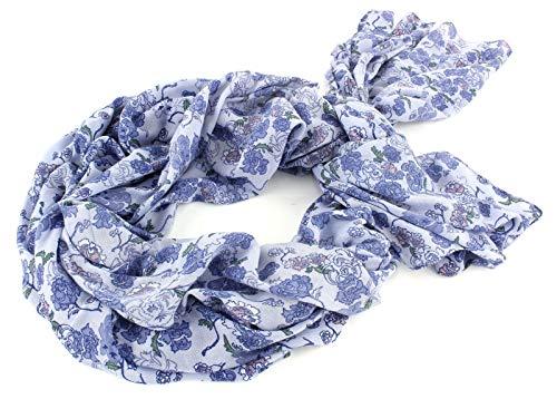 ESPRIT edc Flower Printed Twist Scarf Pastel Blue