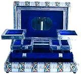 The Hue Cottage Caja de joyería decorativa con 5 compartimentos, organizador de maquillaje de metal blanco, accesorio para mujer, para viajes, pendientes, pulseras, anillos, 28 cm x 20,32 cm