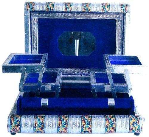 Die Hue Cottage Jewelry Box Blau Samt Weiß Metall Deko Schmuck Vanity Boxen indischen Handarbeit Damen Accessory Hochzeit Geschenk Artikel