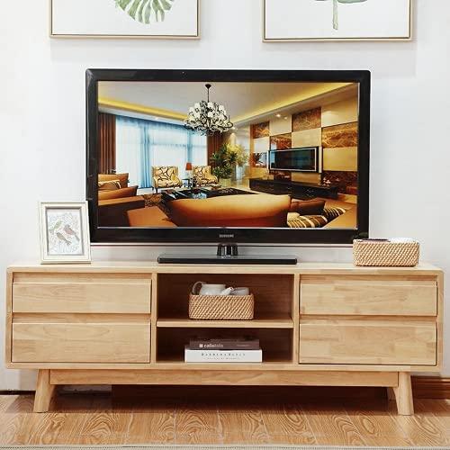 SYZMA Soporte de TV, armarios de TV, con cajones y compartimentos de almacenamiento, escritorio de madera, consola de TV con pies, diseño nórdico, fácil de montar, color madera natural