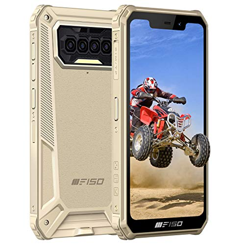 Rugged Smartphone, F150 Unlocked Mobile Phones 8000mAh Battery, Android 10 4G Global Dual-SIM IP68/69K Waterproof Rugged phone, 5.86'' 6GB + 64GB Quad Camera Face/Fingerprint ID NFC, GPS(Yellow)