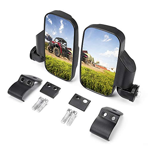 UTV Side Mirrors, Break Away w/Adjustable Rear View Side Mirrors Compatible with Polaris Ranger 900 XP/1000/570 2013-2021,General 2016-2020, Can Am Maverick Trail/Defender