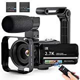 Video Camera 2.7K Ultra HD Camcorder YouTube Vlogging Camera with Microphone 36MP IR Night Vision 16X Digital Zoom 3 inch IPS Touch Screen Video Recorder with Handheld Stabilizer, Remote Control