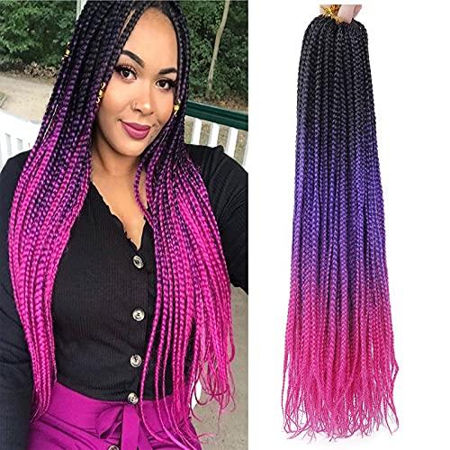 24 Inch Box Braids Crochet Hair 5Packs Pre-looped Ombre Crochet Box Braids Synthetic Braiding Hair Extensions 22Strands/Pack (black-purple-red, 24inch)