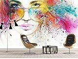 Papel tapiz Fotográfico 3D Chica de gafas de colores Mural Papel Pintado Decoración De Pared Sala Cuarto El Fondo Del Sofá, 450(W)X300(H) cm
