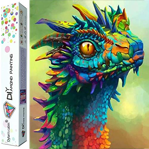 Dylan's cabin DIY 5D Diamond Painting Kits for Adults,Full Drill Embroidery Paint with Diamond for Home Wall Decor(dragon/16x12inch)
