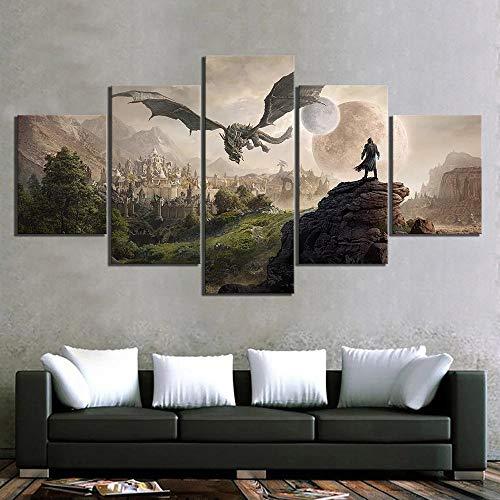 baixiangguo Elder Scrolls 4 Skyrim Quadri Moderni 5 Pezzi Poster Banner Dipinti su Tela Stampe Stampate Decorazione Domestica Incorniciata con Cornice-100 x 55 cm