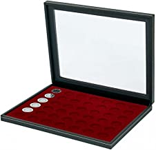 Lindner 2367-2707E Coin case NERA M PLUS with dark red insert with 42 round compartments for coins with Ø 27,5 mm, e.g. for 5 EURO coins GERMANY