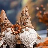 VALERY MADELYN 3er Set 14cm Kunstharz niedlichen Zwerge Figuren Sonnenblume halten und Langen Hut tragen Tischdeko für Haus und Garten Herbstdeko Kinder Erntedank Geschenk - 3