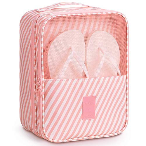 Shoe Bags for Storage,Mossio Shoe Pouch Weekend Bag Backpack Organizer Pink Striped