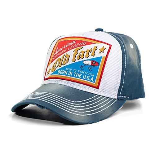 Bone Head Outfitters Vintage Old Fart Hat Tan Denim Reverse Trucker Snap Closure