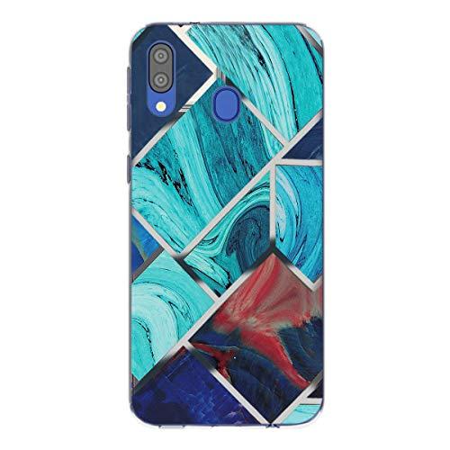 Tankle Crystal Clear - Carcasa compatible con Samsung Galaxy M20, transparente, antiamarilla ultrafina, carcasa de silicona, antigolpes, diseño de mármol