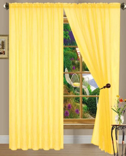 """55"""" inch x 84"""" inch Sheer Curtains Window Voile Panels, Set of 4 (Yellow)"""