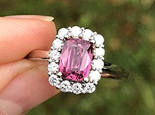 Natural Padparadscha Orange Pink Sapphire and Diamonds Halo Statement Engagement Cushion Cut Ring 2.00 cttw 14K White and Rose Gold NEW Size 7