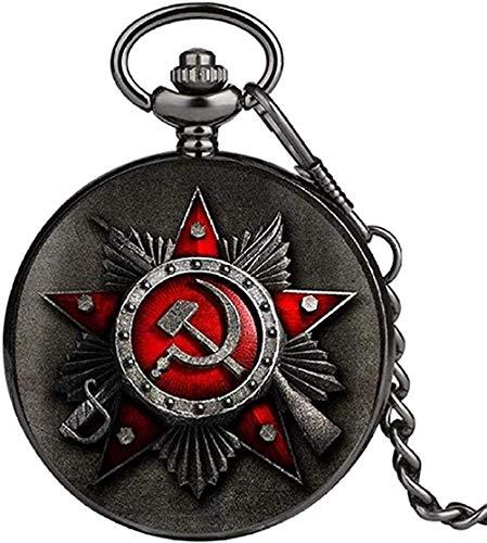 Collar Retro Rusia Unión Soviética Bandera rusa Martillo Insignias Hoz Reloj de bolsillo Diseño de gancho Collar de la URSS Cadena de regalo para hombres Mujeres para mujeres Hombres Collar de regalo