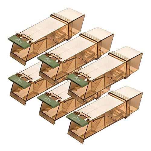 Gardigo - Set de 6 Souricière Souris; Pièges à Souris Vivants; Humain et Réutilisable; Mouse Trap Intelligent; pour Intérieur et Extérieur; 18 x 6 x 5 cm