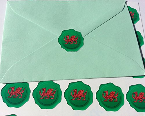 60 Wales Cymru Dragon Wax Seal Effect Stickers - Green Background 27mm Easy Peel Labels