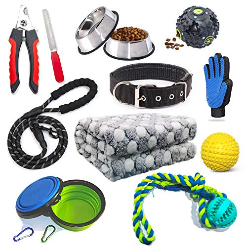Puppy Starter Kit 12 Piece Dog Accessories Supplies for Small Dogs Includes:Dog Toys/Dog Bed Blankets/Dog Clippers for Grooming/Puppy Training Supplies / Dog Leashes
