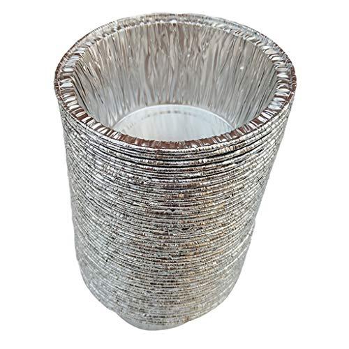 perfk Aluschalen rund Grill Alu-Tropfschalen Einwegschalen Grillschalen für Küche Garten Camping - 120 ml, 50 Stück