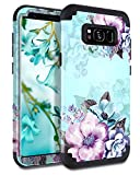 Casetego Compatible Galaxy S8 Plus Case,Floral Three Layer Heavy Duty Hybrid Sturdy Armor Shockproof Full Body Protective Cover Case for Samsung Galaxy S8 Plus,Blue Flower