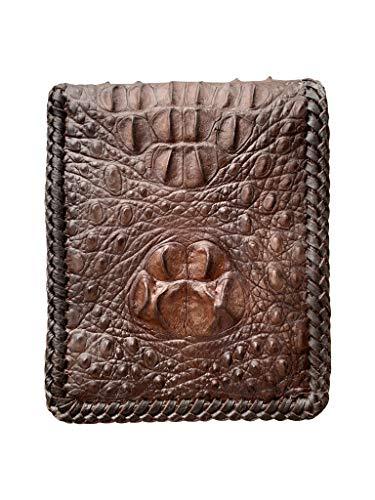 Marrón genuino cocodrilo jorobada Hornback espines piel de espina biford cartera para hombres con borde de costura diseño vintage para más varonil