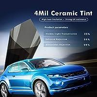 車ステッカー カーアクセサリ 4Mil / 0.1ミリメートルカーサイドウィンドウ色合いフィルムUVプルーフナノセラミックス膜99%熱削減太陽保護フィルム粘着ステッカー0.5x6m DIYステッカー (Size : 0.5x6m)