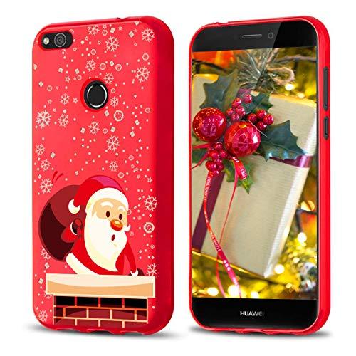 Yoedge Cover Huawei P8 Lite 2017, Sottile Antiurto Custodia Rosso Silicone TPU con Disegni Pattern Ultra Slim 360 Protective Bumper Case per Huawei P8 Lite 2017, Santa Claus