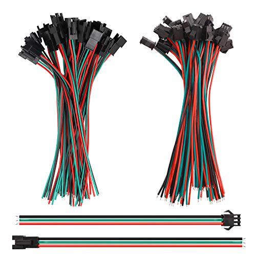 Tnisesm/ 20 Paare 22 AWG JST steckverbinder 3-poliger Stecker-Buchse-Männlich und Weiblichen Kabeldraht Elektrisches Kabel 150 mm für WS2812B WS2812 WS2811 LED-Lichtleiste SM-3P