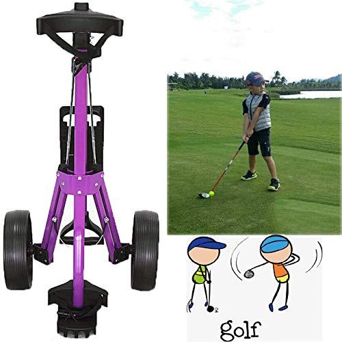 Believe Carrello da Golf, Carrello Trolley Golf, Carrello da Golf a Due Ruote, con Maniglia Push-Pull e Freno A Pedale, Carrello da Golf a Spinta, Carrello da Golf Pieghevole