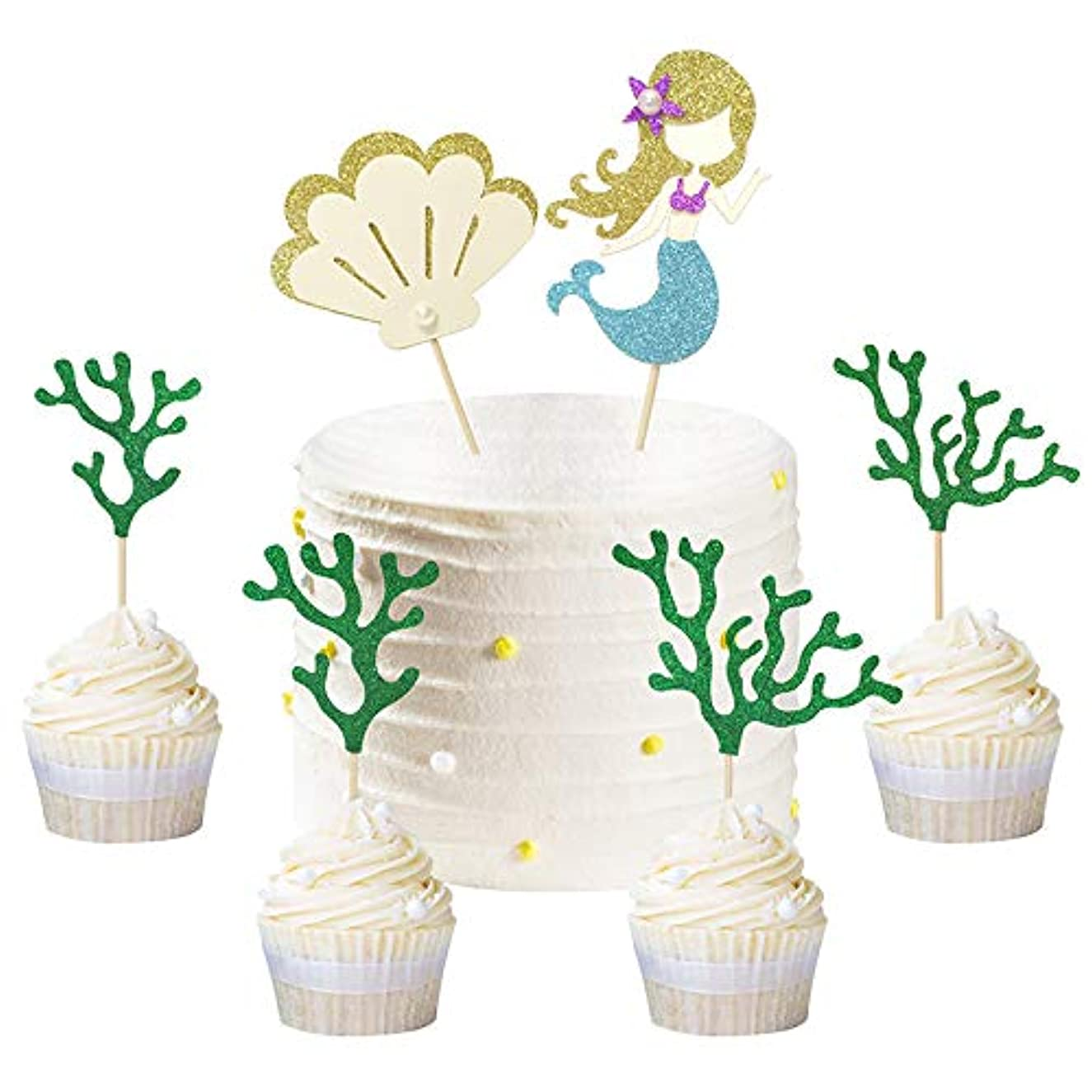 Mermaid Cupcake Toppers Shell Seaweed Donut Decor for Summer Ocean Beach Party