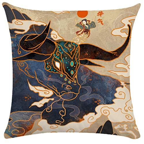 Festival de Año Nuevo Chino Pillowcasas Tide Taurus Cushion Cojing Cover leilims (Color : 71)
