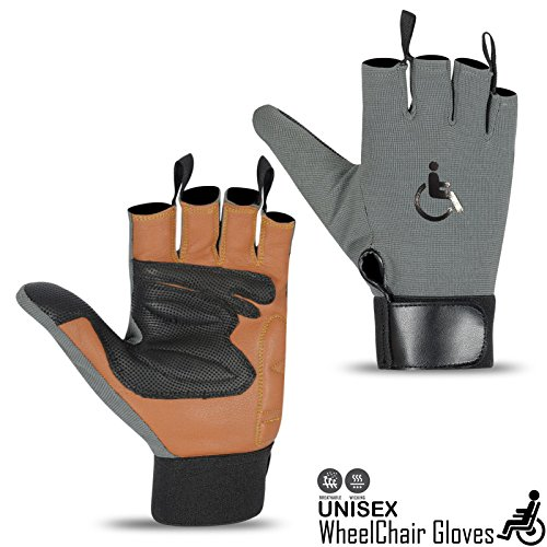 Rebo Wheelchair Gloves Mobility Fingerless Long Thumb Leather Palm Gloves