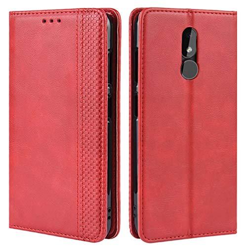 HualuBro Handyhülle für Nokia 3.2 Hülle, Retro Leder Brieftasche Tasche Schutzhülle Handytasche LederHülle Flip Hülle Cover für Nokia 3.2 2019 - Rot