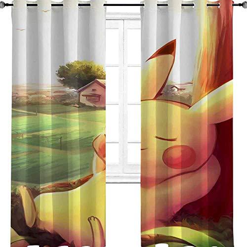 Pokémon manga anime TV-film tecknade karaktärer söt tupplur under trädet mörkläggningsgardiner för sovrum/vardagsrum värmeisolerade gardiner för pojkar sovrum 183 cm B x 96 tum L