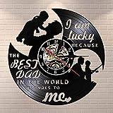 SHILLPS El Mundo me Pertenece Reloj de Pared de Vinilo LP Record Tengo Suerte Porque el Mejor papá en Negro Reloj Colgante Regalo sin LED