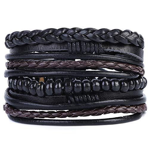 Mix 4 Wrap Bracelets Men Women, Hemp Cords Wood Beads Ethnic Tribal Bracelets, Leather Wristbands (E)