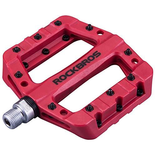 ROCKBROS Fahrradpedale Nylon Composite Flatpedale 9/16 Mountain Bike Pedale 3 Bearing rutschfest Wasserdicht Anti-Staub (Stil 1 - Rot)