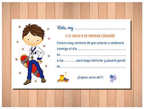 Invitaciones de Primera Comunión Niño Skater - Bonitas y Originales - Para que Sus Amiguitos ¡Alucinen! - 20 Unidades