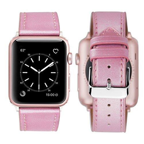 iBazal horlogebanden compatibel met iWatch-serie 5 4 3 2 1 Riemen 40 mm 38 mm lederen vervangende polsbandjes Polsriem armbanden Horlogebandjes met zilveren gesp Dames dames - Lichtroze 38/40