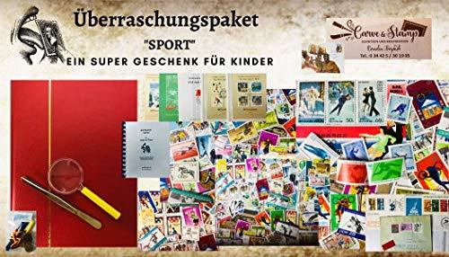 Boemaus500 Überraschungspaket für Kinder, Kindergeburtstag.....Thema Sport mit Album, Pinzette, 200 Themenmarken Erstagskarten und Briefen (Sport) Port Ort rt