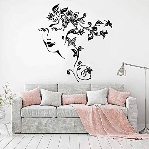Blrpbc Adesivi da Parete Adesivi Murali Modern Flower Nature Abstract Woman Face Girl Room Camera da Letto Flora Girl Face Living Room Vinyl Decor 101x95cm