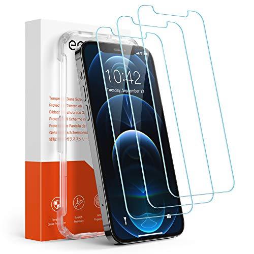 Amazon Brand – Eono [3 Stück] Panzerglas Schutzfolie Kompatibel mit iPhone 12 und iPhone 12 Pro, Anti-Kratz, 9H Härte, HD Displayschutzfolie, Ultra-Klar, Hülle...