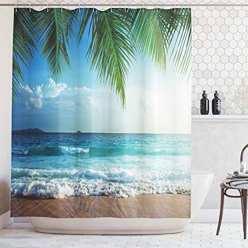 ABAKUHAUS Oceano Cortina de Baño, Palmas Tropical Island, Material Resistente al Agua Durable Estampa Digital, 175 x 200 cm, Azul y Verde