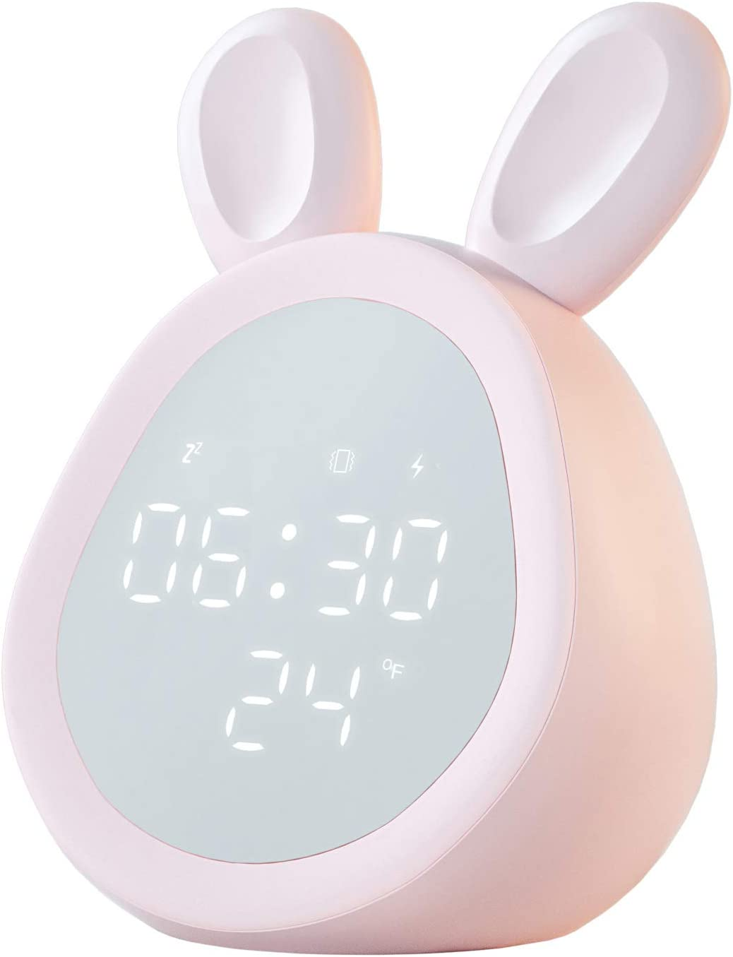 Cozy Villa Alarm Clocks for Bedrooms with Snooze and Night Lights, Digital Alarm Clock with Thermometer, Volume and Brightness Adjustable, Rechargeable, Pink, Bunny Shaped